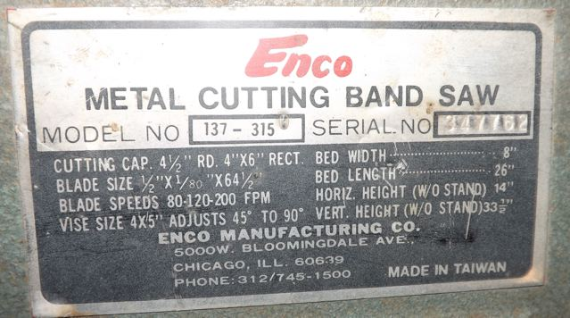 4 1 2 X 6 Enco Horizontal Bandsaw Industrial